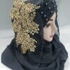 pearl ready to wear with fancy bunch dark grey side picture