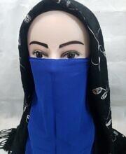 elastic half niqab blue full picture