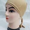 plain tie back bonnet cap fawn