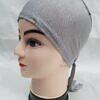 plain tie back bonnet cap light grey