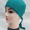 plain tie back bonnet cap turquoise