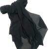 plain chiffon scarf black full picture