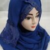 embroidered ready to wear hijab blue