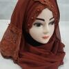 embroidered ready to wear hijab caramel brown