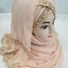 embroidered ready to wear hijab light peach