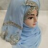 embroidered ready to wear hijab sky blue
