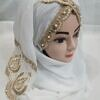 embroidered ready to wear hijab white