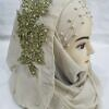 pearl ready to wear with fancy bunch olive green