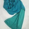 chiffon ready to wear with stitched cap turquoise