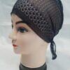 lace tie back bonnet black
