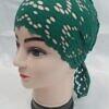 lace tie back bonnet bottle green