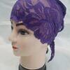 lace tie back bonnet brinjal