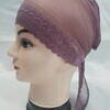 lace tie back bonnet mauve