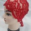 lace tie back bonnet red