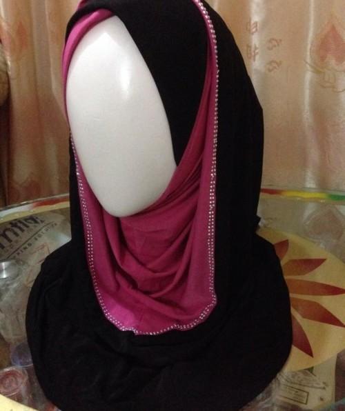 Jersey – Hoodie Hijab – Pink & Black