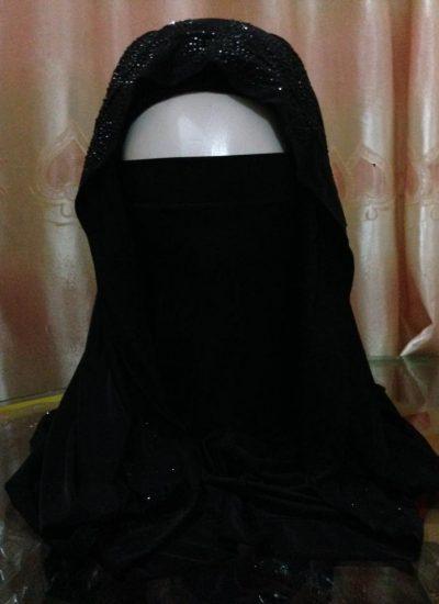 Rhinestone Misri Hijab – Black
