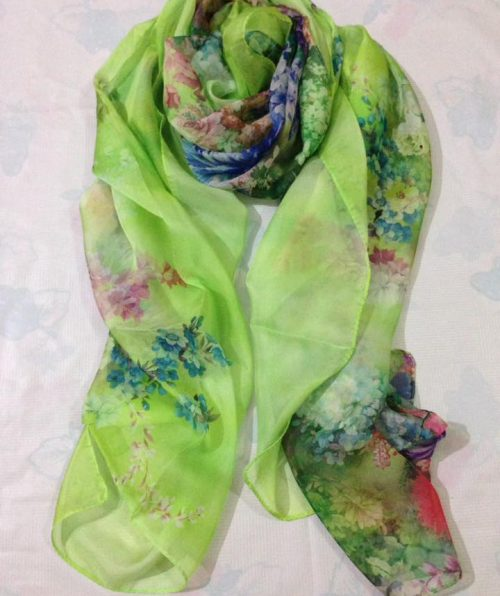 Silk Floral Scarf – Parrot Green