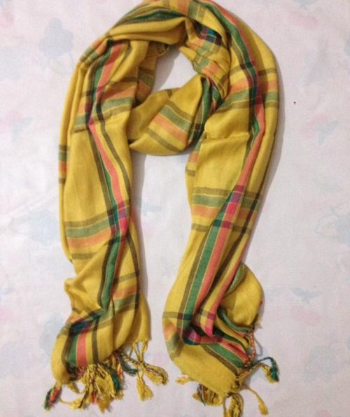 Checkered Linen Scarf – Yellow