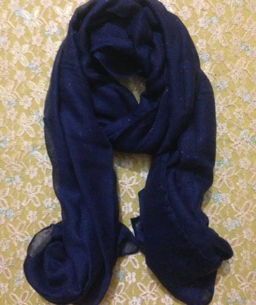 Plain Cashmere Scarf – Navy Blue