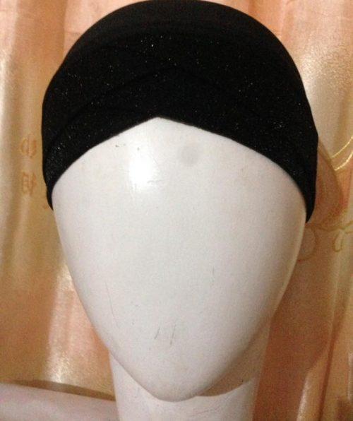 Criss Cross Tie Back Bonnet Cap – Black