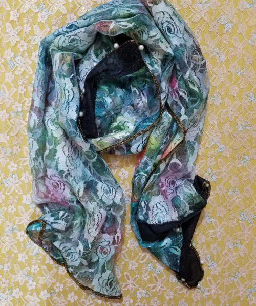 Net Pearl Printed Scarf – Green