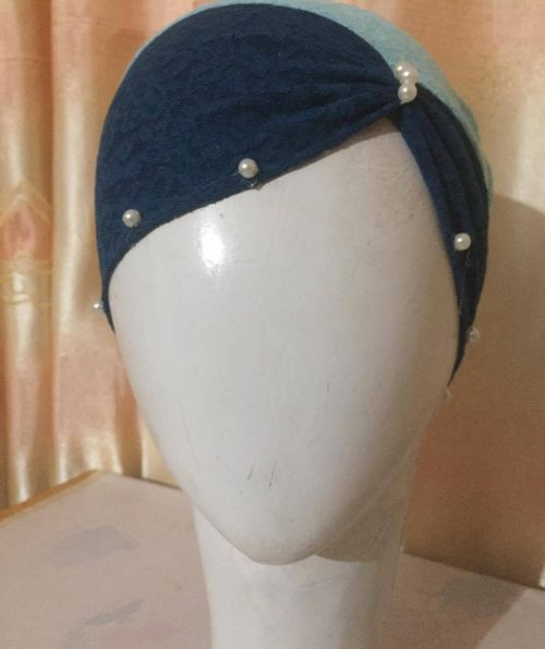 Side Parting Cap with Pearls – Navy Blue