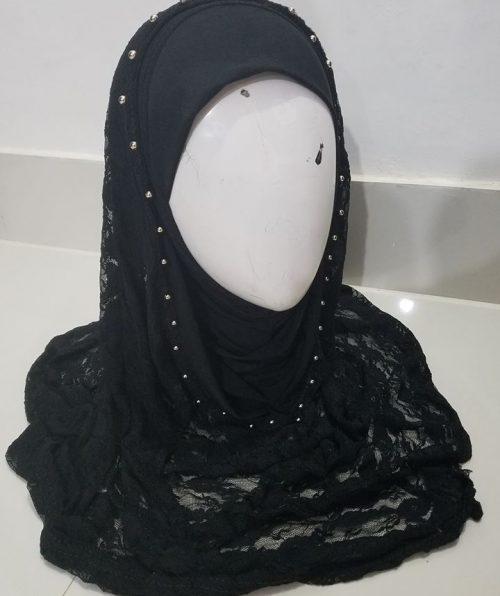 Pearl Net Hoodie Hijab - Black