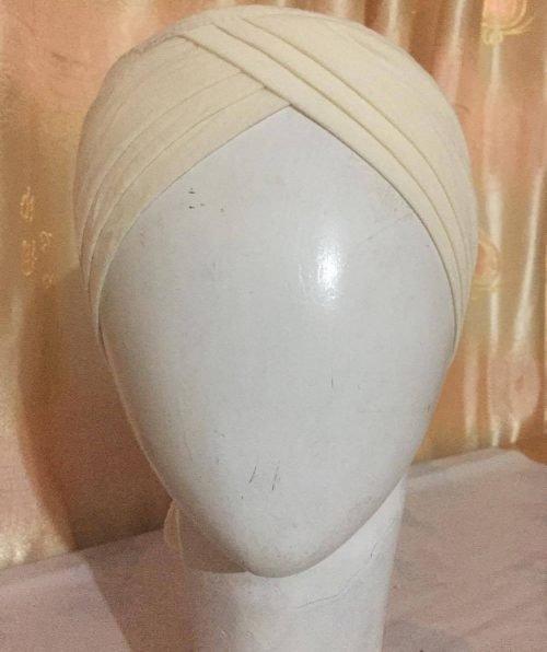 Turban Tie Back Bonnet Cap – Off White