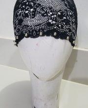 Fancy Lace Cap Tie Back Bonnet with Pearls - Black