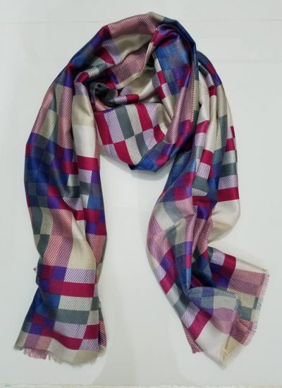 Viscose Checkered Scarf – Pompadour