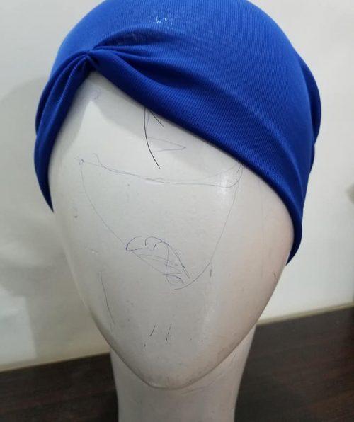 Side Parting Tie Back Bonnet – Blue