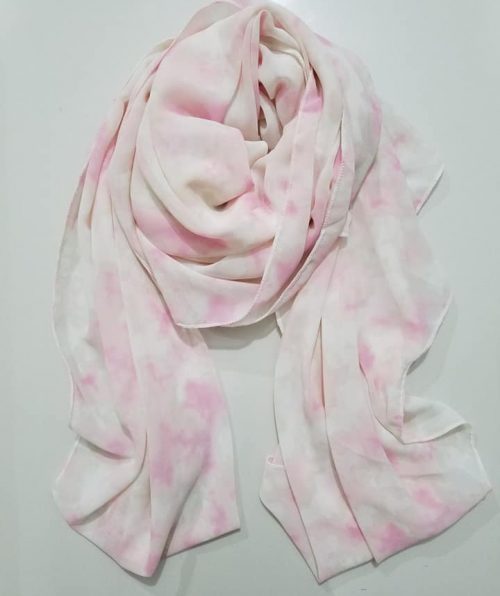 Chiffon Square Scarf – Pink and White
