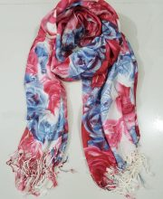 Floral Wool Pashmina – Pink and Blue