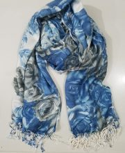 Floral Wool Pashmina – Blue and Grey