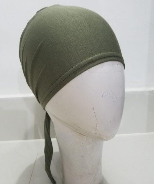 Tie Back Bonnet Cap - Olive Green
