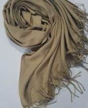 Plain Cashmere Wool Scarf - Camel - Full Picture