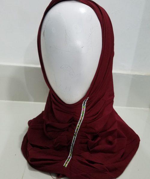 Chiffon Instant Hijab - Maroon