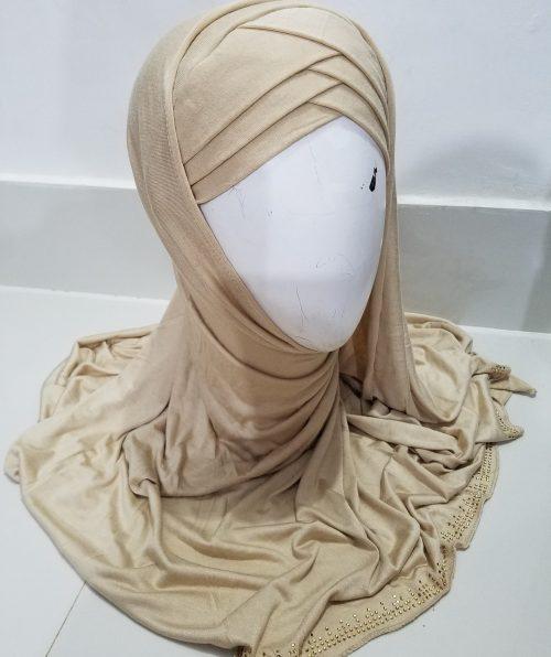 Criss Cross Instant Hijab - Fawn