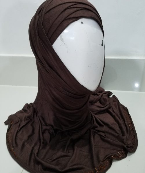 Criss Cross Instant Hijab - Brown