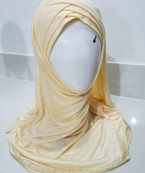 Criss Cross Instant Hijab - Cream