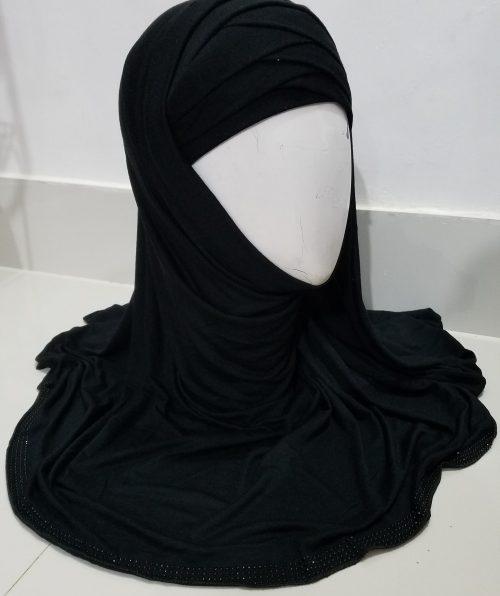 Criss Cross Instant Hijab - Black
