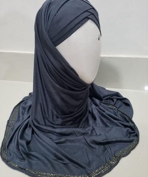 Criss Cross Instant Hijab - Dark Grey