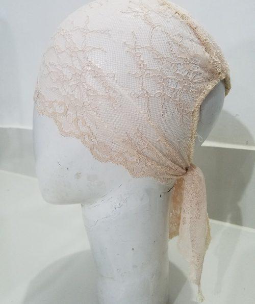 Lace Tie Back Bonnet Cap - Nude