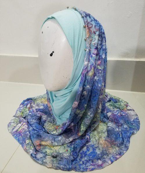 Pearl Net Hoodie Hijab - Sky Blue