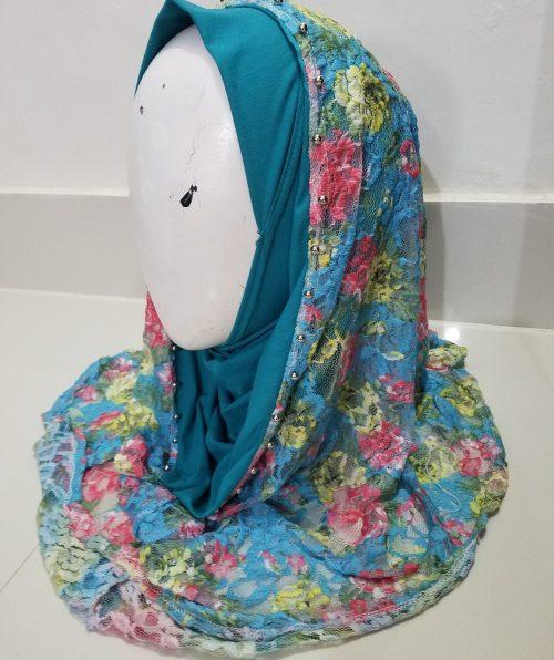 Pearl Net Hoodie Hijab - Aqua Blue