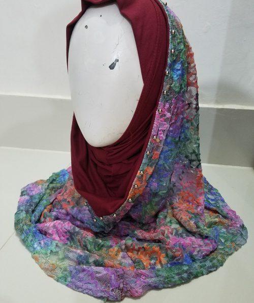 Pearl Net Hoodie Hijab - Maroon
