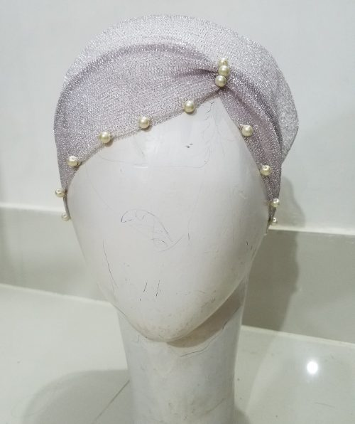 Net Side Parting Cap with Pearls - Dirty Purple
