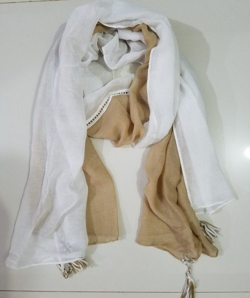 Two Tone Lawn Hijab - White and Skin