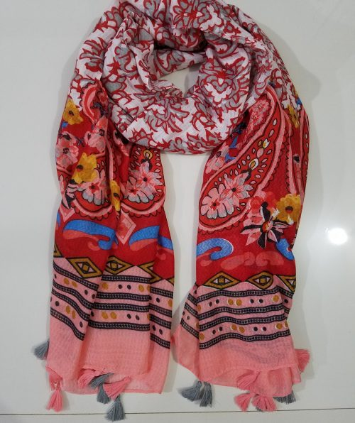 Lawn Printed Scarf - Coral Red