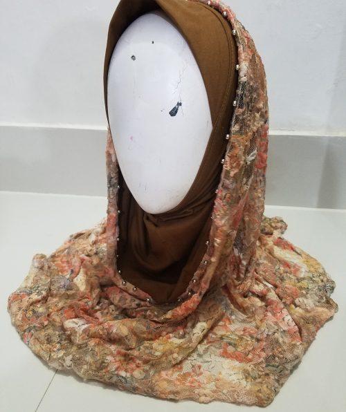 Pearl Net Hoodie Hijab - Brown